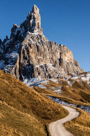 panoramic view of the dolomite mountains on the background of Cimon della Pala