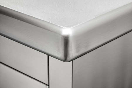 rounded corner of a professional stainless steel kitchen Reklamní fotografie