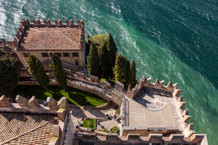 view from above of the Scaligero Castle in Malcesine Stock Photo