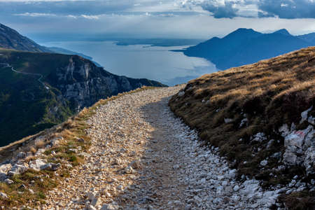view from above of Lake Garda with cloudy sky