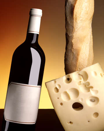 bottle of wine with bread and cheese on a yellow gradient background