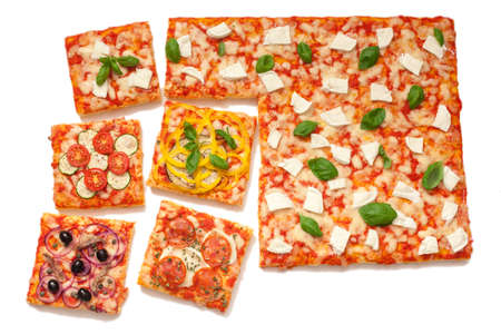 various flavors pizza cut into square slices on white background 版權商用圖片