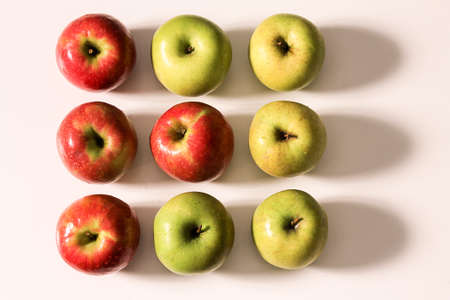 geometric composition of red and green apples