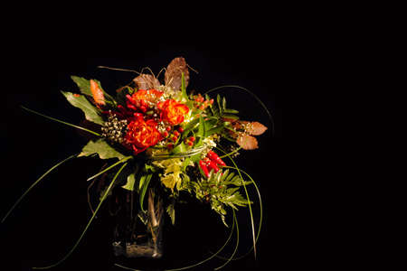 bunch of colorful flowers and leaves on black background