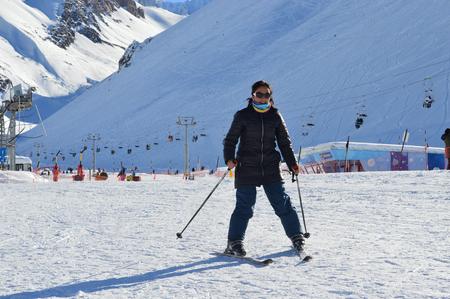 Young woman having fun skiing at Las Le�??,? ? as ski resort in Mendoza, Argentina Stock Photo