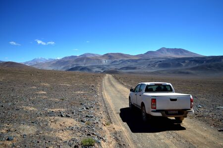 Mountain road reaching the Socompa border crossing, Argentina-Chile border in the province of Salta.