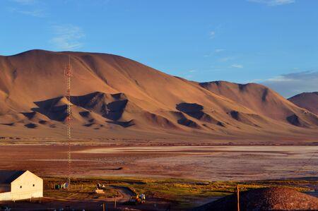 The cut in the mountain of the train tracks near Tolar Grande, Salta, Argentina.
