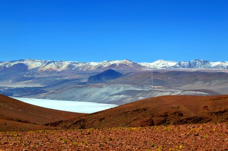 Beautiful landscape of the Andes mountain range and the sulfur line that connects Mina Julia and Mina La Casualidad. The R?o Grande salt flat is also observed. Salta, Argentina.