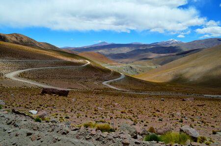 Descent to Santa Rosa de los Pastos Grandes. Quevar volcano can be seen on the right. Salta, Argentina