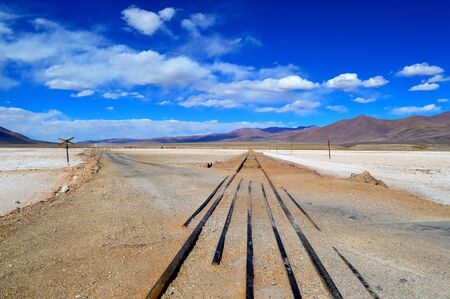Crossing of provincial route 27 with the railroad tracks in the Pocitos salt flat. Salta, Argentina