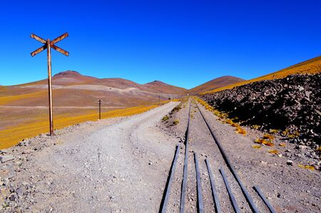The road and the train trucks intertwined in the pune between Caipe and Socompa. Salta, Argentina 免版税图像