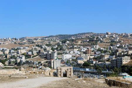 Jerash (Gerasa), ancienne capitale romaine et plus grande ville du gouvernorat de Jerash, Jordanie, porte nord Banque d'images