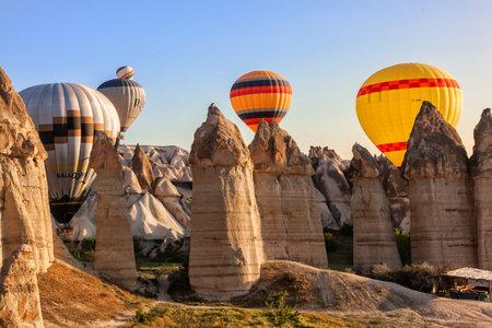 Flying balloons over unbelievable Love valley, Cappadocia, Turkey 写真素材