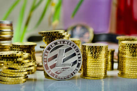 Silver Litecoin coin Stock Photo