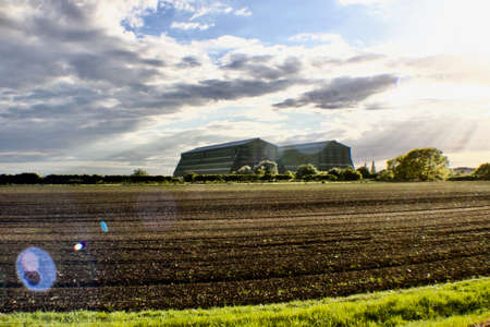Two big and green hangars in Bedfordshire Area Stock Photo
