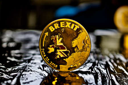 EU LEAVING - Gold brexit coin Stock Photo
