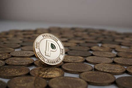 Digital currency physical gold peercoin coin with green leaf on the money. Stock Photo
