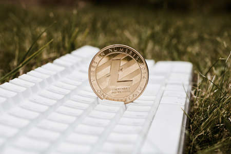 Cryptocurrency physical gold Litecoin coin on the white keyboard in grass. Фото со стока