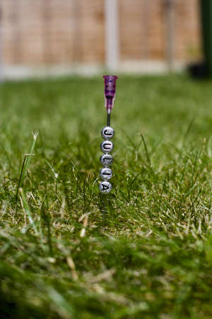Silver inscription small letters pins Julia on the green grass. Needle concept.