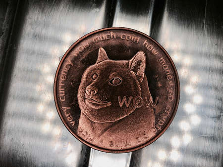 Digital currency physical brass dogecoin coin with dog on front.