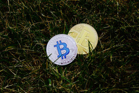 silver coins: Digital currency physical silver bitcoin coin and gold litecoin coin on green grass.