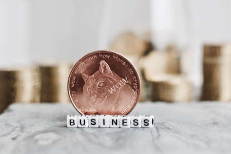 Digital currency physical brass dogecoin coin near small white business inscription. Stock Photo