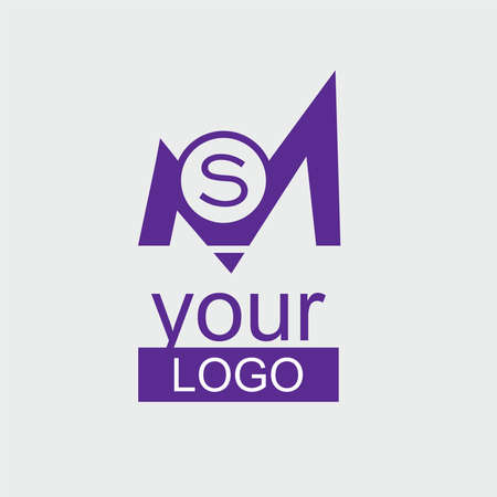 MS Initial logo. Violet corporate logo with small S letter in the circle. Ilustrace