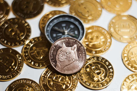 Cryptocurrency physical brass doge coin on the gold bitcoins. Compass concept. Stock Photo