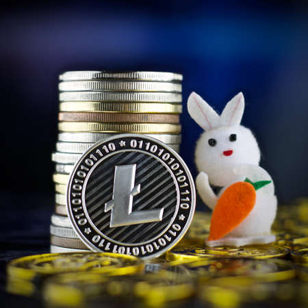 Digital currency physical metal litecoin coin. Cryptocurrency gold concept.