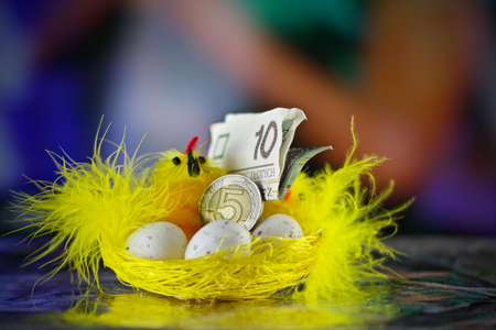 Happy Easter. Yellow chicken and polish money coin and paper.