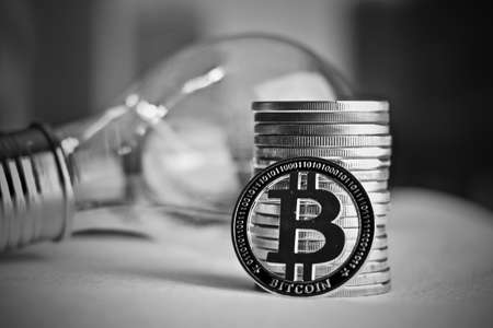 Digital currency physical metal bitcoin coin. Idea cryptocurrency concept. Stock Photo