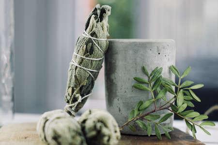 White salvia incense. Salvia ritual concept. White sage, scared sage, california sage, bee sage. Stock Photo