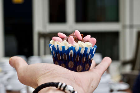 Tasty colour cupcake on hand. Sweet food concept.