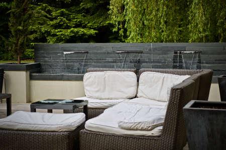 Green garden near the house. Summer concept. England. Stock Photo