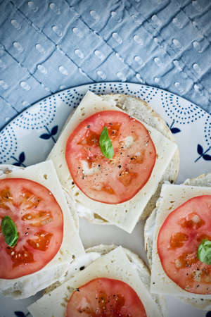 Home made, cheese and tomato sandwich. Food concept. Stock Photo