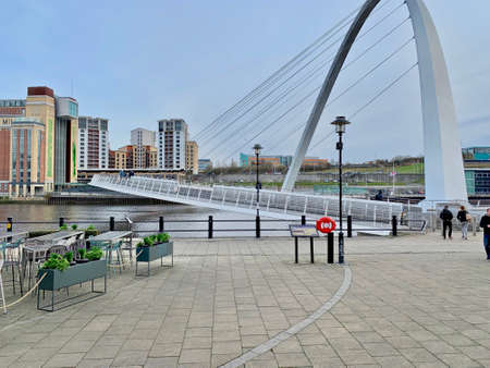 Big white bridge on the river in Newcastle Upon Tyne. Urban photography. Street photography.