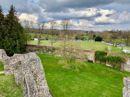 Old castle ruins in Farnham. England. United Kingdom. Castle & Garden. Panoramic.