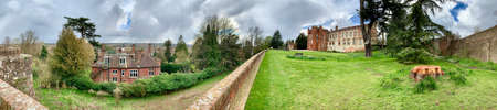 Old castle ruins in Farnham. England. United Kingdom. Castle & Garden. Panoramic.