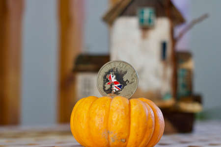 Brexit coin with the british map. Halloween brexit concept.