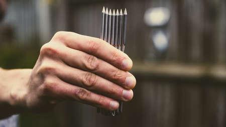 Original steel nails for clavitherapy alternative medicine treatment. Zdjęcie Seryjne