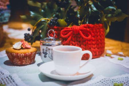 Beautiful wool handmade decoration. Knitting and crochet. Handmade crocheting crafts. DIY. Stock Photo