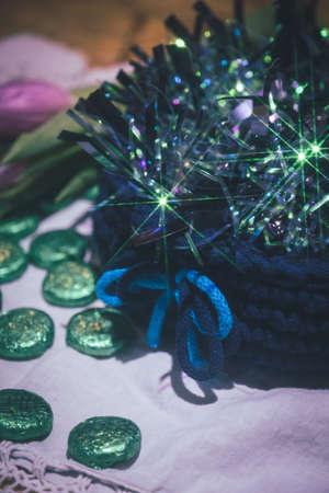 Beautiful wool handmade decoration. Knitting and crochet. Handmade crocheting crafts. DIY. Zdjęcie Seryjne
