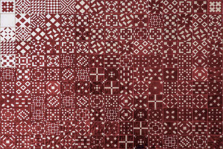 geometrical shapes: Red mosaic azulejo texture in Lisbon. Geometrical shapes and patterns.