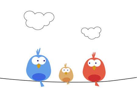 aves caricatura: Nueva familia de aves Foto de archivo