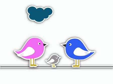 Bird family collage Vector