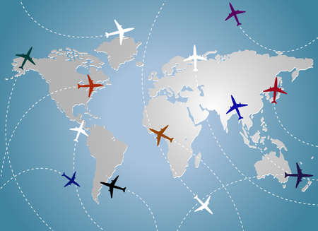 divert: Airplanes and map blue Illustration