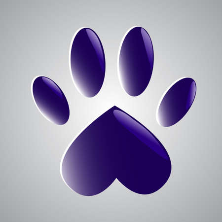 Blue glowing paw Vector