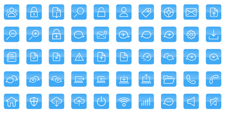 reflects: 50 glossy outline white vector web icons with reflects on a blue square with rounded edge