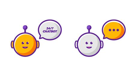 3g: 2 Orange and grey smiling cartoon style funny vector talking chatbots icons