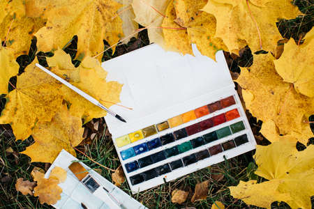 Relax woman painting water colour art work in autumn garden forest nature 免版税图像